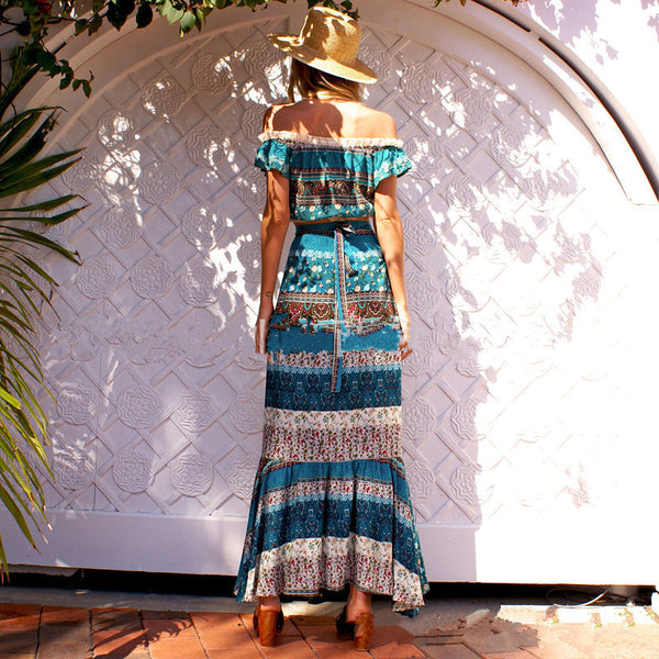 Women's bohemian one shoulder two-piece suit dress long skirt