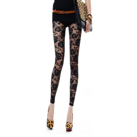 Women's Leggings Floral Lace Patched Solid Leggings