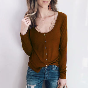 women's European and American autumn and winter explosions button low collar bottoming shirt