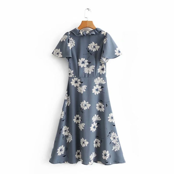Women's ruffled collar large flower long print short-sleeved dress