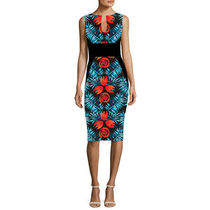 V-Cut Floral Print Sleeveless Midi Dress