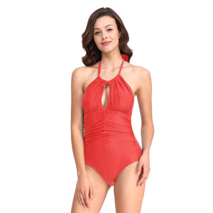 Europe and the United States one swimsuit ladies solid color thin self-cultivation Siamese swimwear
