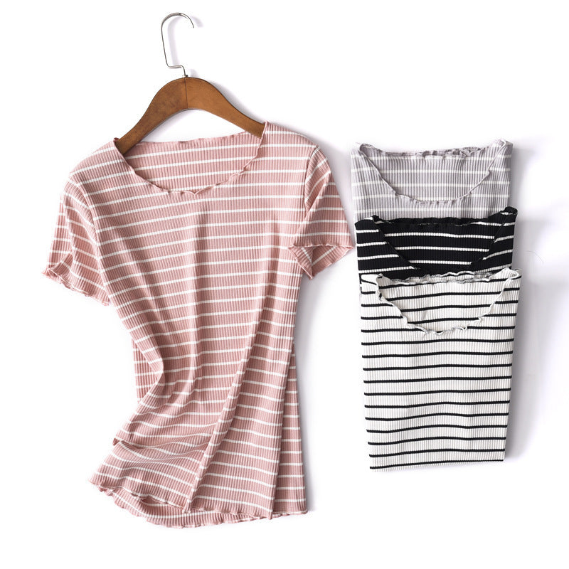 summer new striped half-sleeved T-shirt large size simple wild cotton round neck shirt