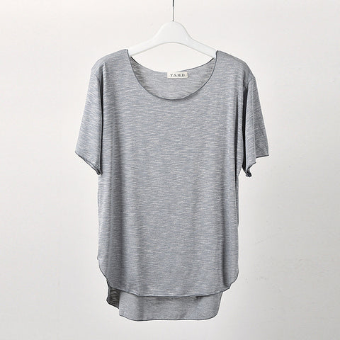 Half-sleeve T-shirt large size solid color loose ladies round neck wild bottoming shirt
