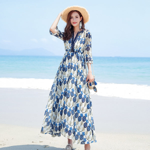 Beach skirt chiffon sling floral dress
