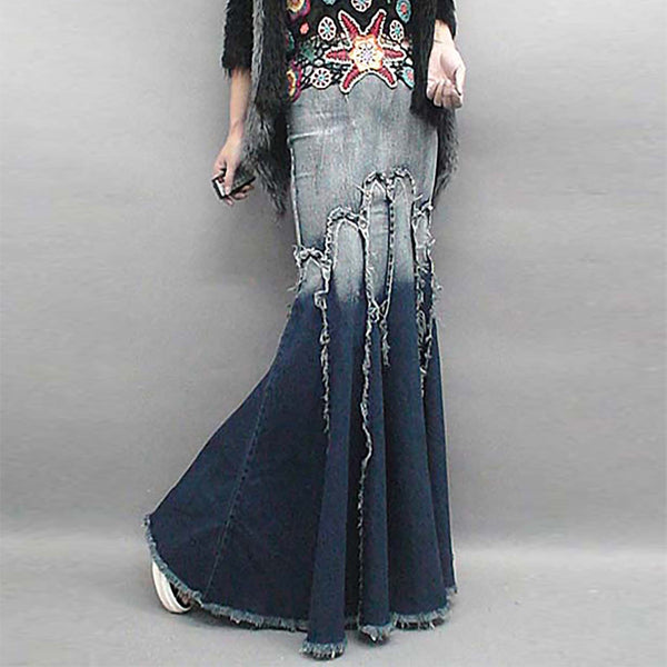 Blue Casual Denim Mermaid Gradient Fringed Midi Skirt