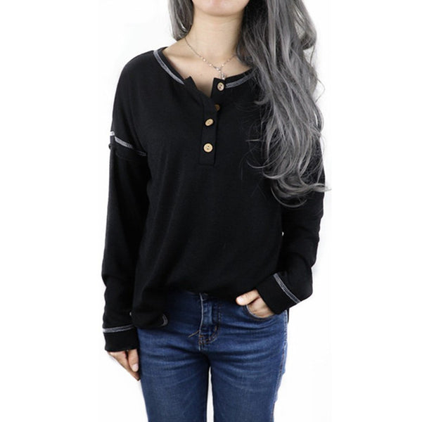 European and American stitching buttons decorative line swallowtail hem loose T-shirt