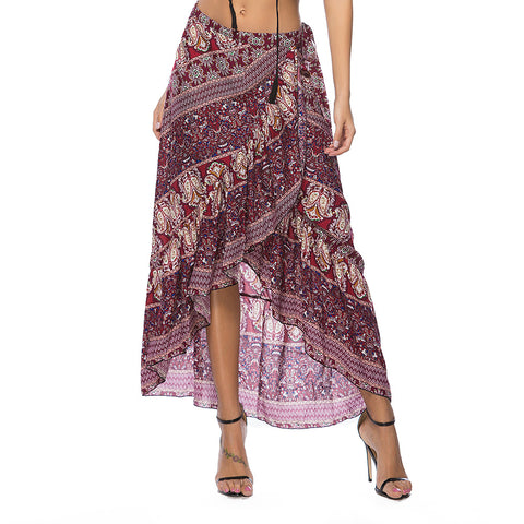 Hot sale Bohemian seaside holiday printing lace women's skirt
