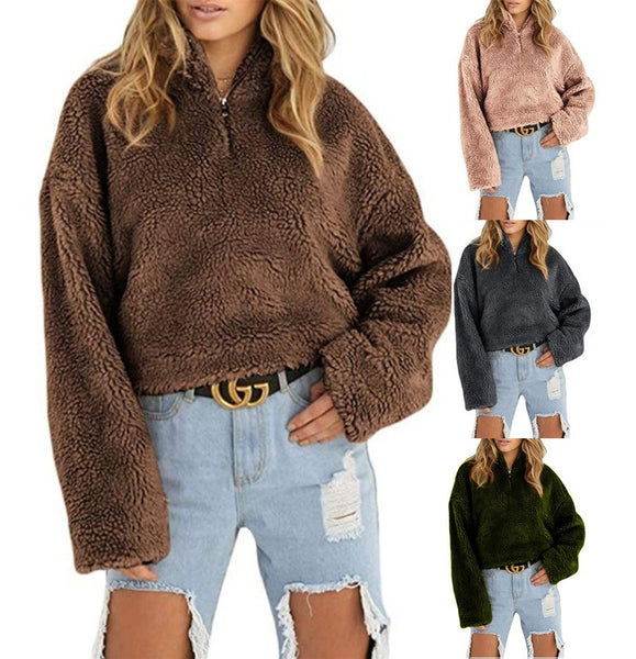 AliExpress wish Amazon 2018 autumn and winter explosion models ladies hot zipper high collar loose short plush sweater