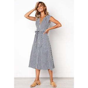 Europe and the United States fashion striped waist tie large swing dress