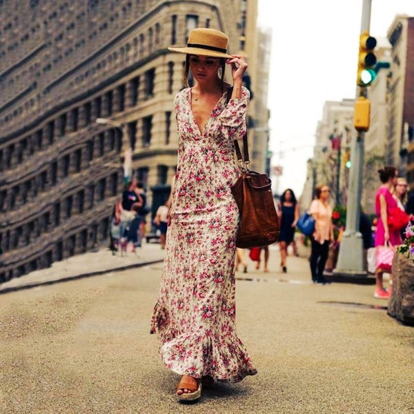 New printed cotton ladies long dress summer lanterns sleeves big swing bohemian dress women