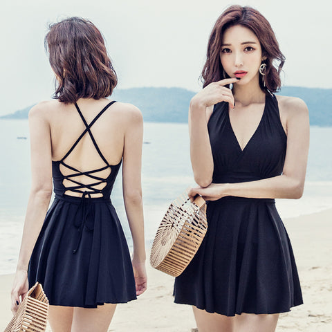 One-piece skirt-style swimsuit female covered belly slim sexy small chest gathered swimsuit female large size Korean hot spring bathing suit