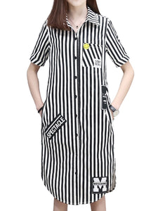 Women's Shirt Dress Stripe Pattern Casual Plus Size Dress