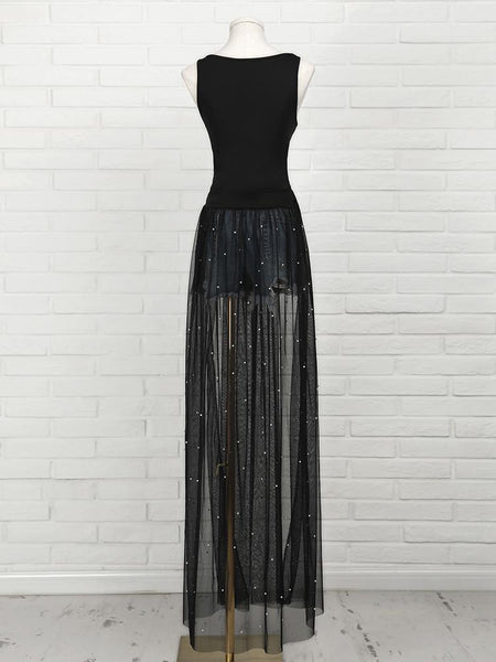 Beading Mesh Splicing Pleated Maxi dress