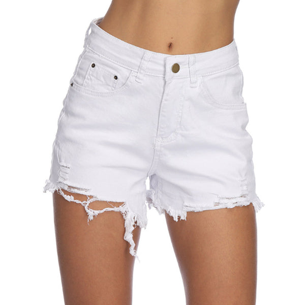 Europe and American summer new women fashion denim shorts hole middle waist loose hot pants casual pants
