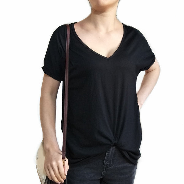 women's new fashion V-neck flat sleeve hem twisted short-sleeved solid color T-shirt