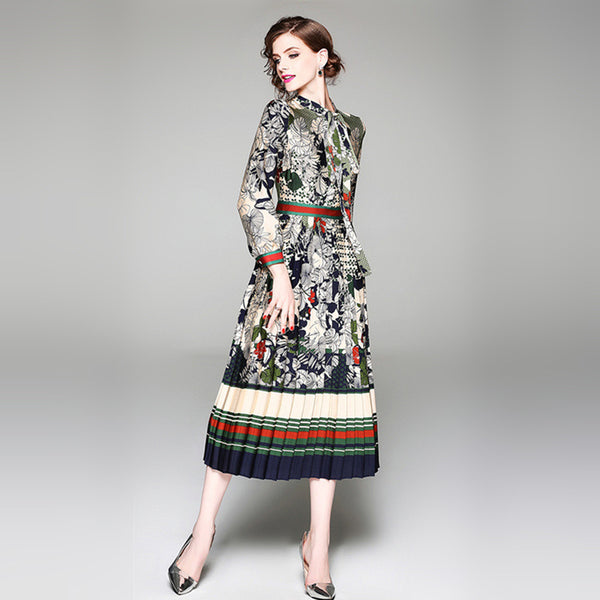2019 spring new ethnic style print dress elegant tie bow holiday pleated skirt