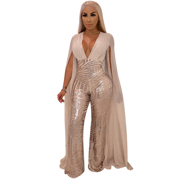Shiny Sequins Cloak sleeve Jumpsuits