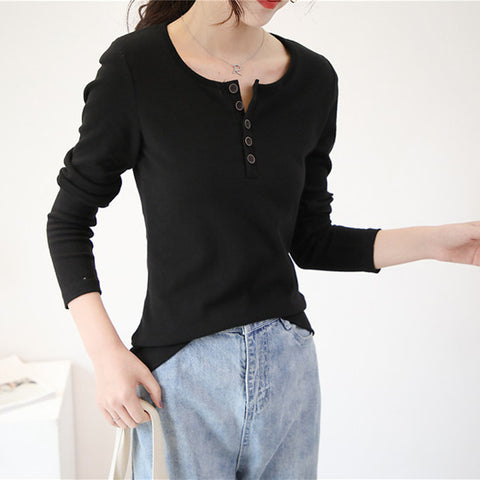 autumn new women's cotton long-sleeved T-shirt Korean version of the large size wild round neck five-button bottoming shirt shirt