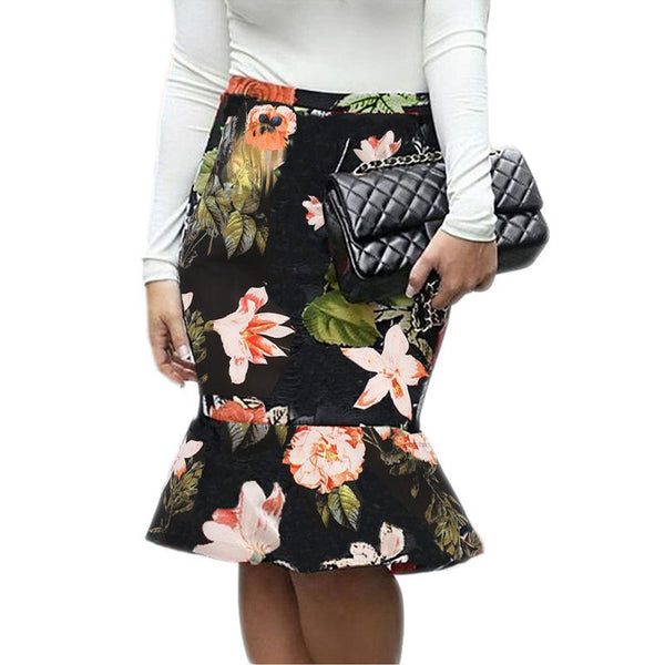 Women Mermaid Skirt Floral Plaid Print High Waist Slim Bodycon Ruffled Elegant Skirt