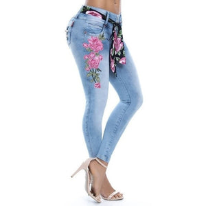 Women's Fashion Sexy Floral Print Skinny Jeans Denim Long Pants