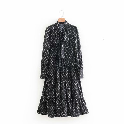 Autumn women's floral long-sleeved long dress