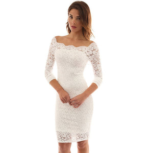 Europe and the United States women's word collar long sleeve bag hip lace dress