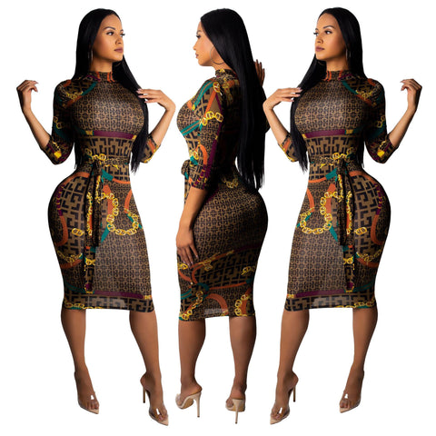 Digital Print Belted Midi Dress