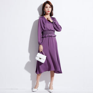 Spring new women's ruffled loose casual long-sleeved seaside holiday chiffon dress