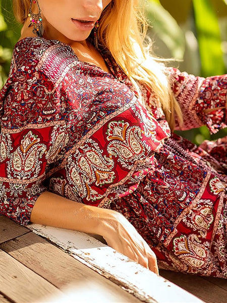 Ethnic Print Thigh Slit Drawstring Maxi Dress