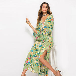 Spring and summer sleeves V-neck print slit long dress new women's clothing