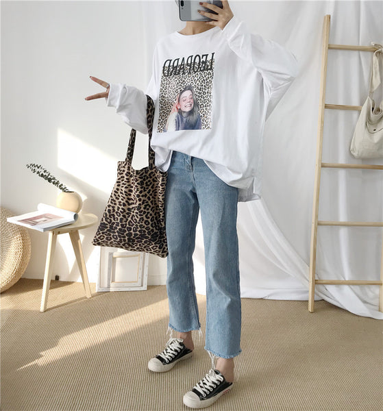Large size loose bottoming wild long-sleeved shirt female T-shirt