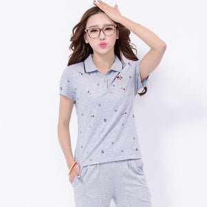 Summer ladies short-sleeved t-shirt fashion printing large size lapel transport middle-aged sports shirt