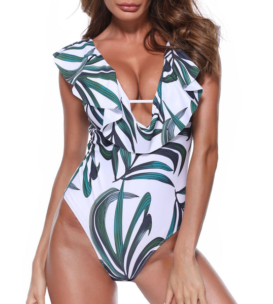 New one-piece green leaf swimsuit European and American sexy swimsuit sexy one-piece swimsuit