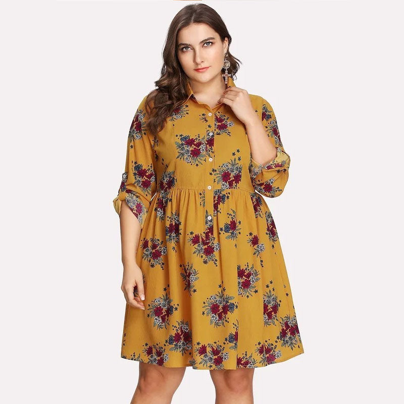New chiffon shirt dress