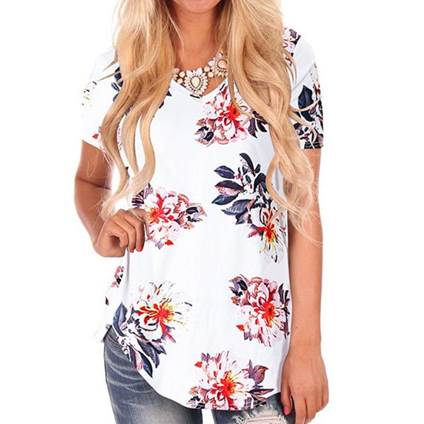 Cross-border women's shirt 2018 speed to sell Amazon explosions V-neck print swallowtail pendulum loose large size T-shirt