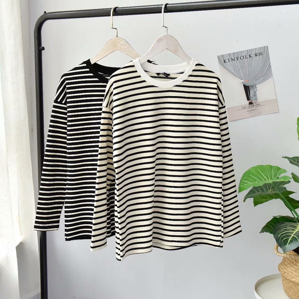 Large size loose striped bottoming shirt long-sleeved T-shirt blouse
