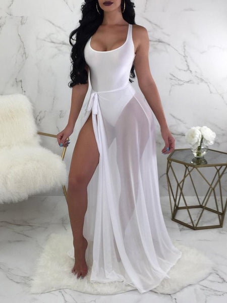 Solid One-Piece Tied Cover Up Swimwear