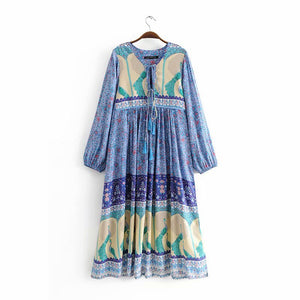 Holiday wind with high waist long skirt printed long-sleeved dress  autumn new