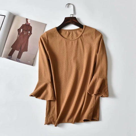 New women's solid color elastic long-sleeved T-shirt large size wild round neck shirt
