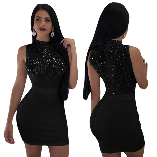Shiny Embellished Mesh Splicing Bodycon Dress