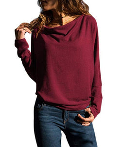 Autumn new loose bat sleeve T-shirt bottoming shirt