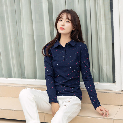 Autumn and winter new women's long-sleeved t-shirt bottoming shirt Korean fashion printing polo shirt cotton blouse