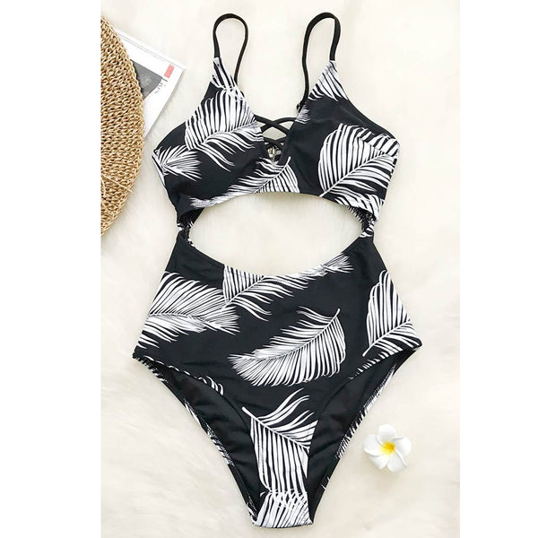 Women's one-piece printed triangle swimsuit