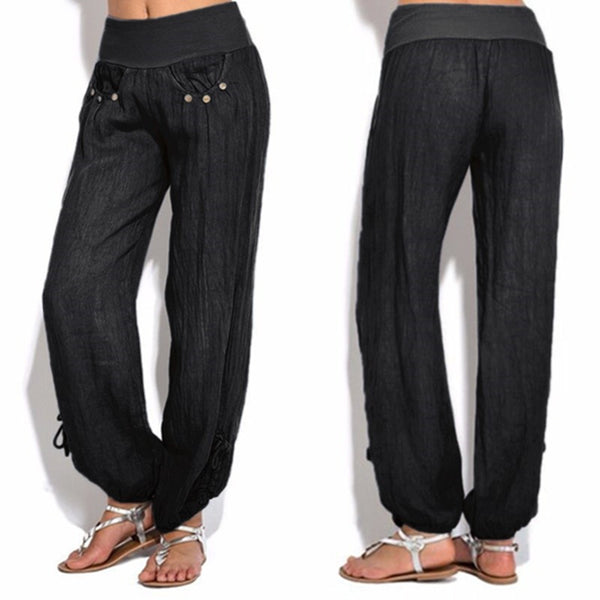 Casual loose low waist wide leg pants