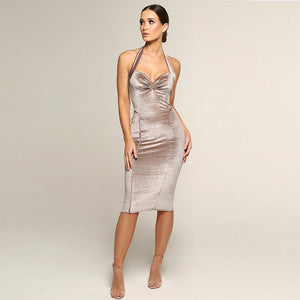 Velvet Halter Ruched Front Bodycon Dress