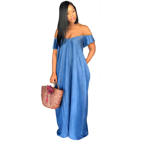 Oversized Off Shoulder Loose Denim Maxi Dress