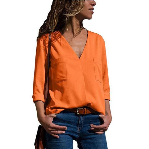 hot V-neck pocket chiffon long-sleeved shirt