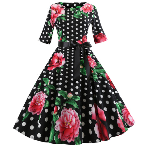 Vintage Floral & Dot Print Belted Casual Dress