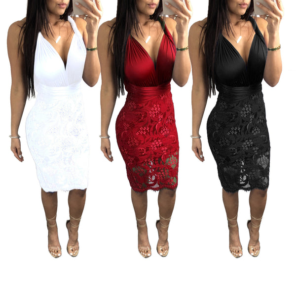 Twist Halter Backless Tie Waist Lace Party Dress